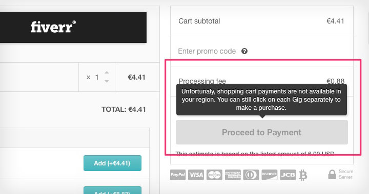 Fiverr Shopping Cart Payments not Available