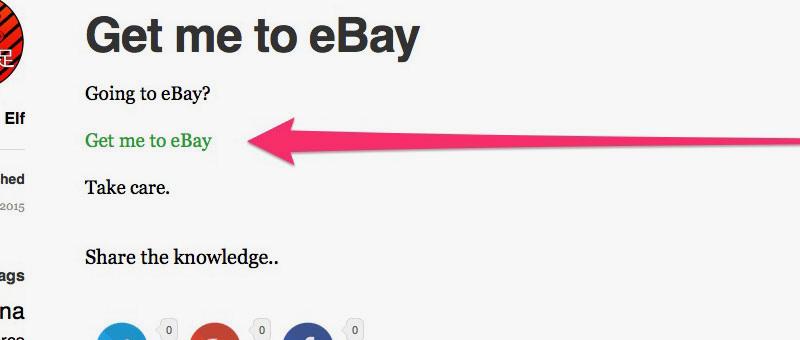 Get me to eBay WordPress Page
