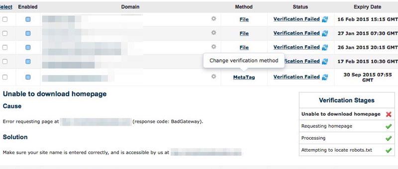 Majestic: Verification Failed, BadGateway