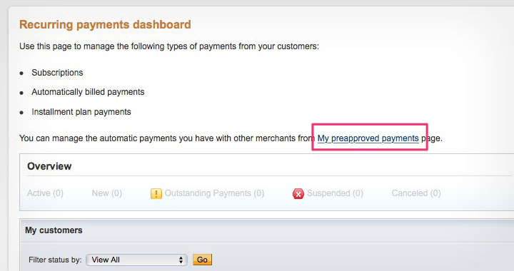 who accepts paypal preapproved payments plan