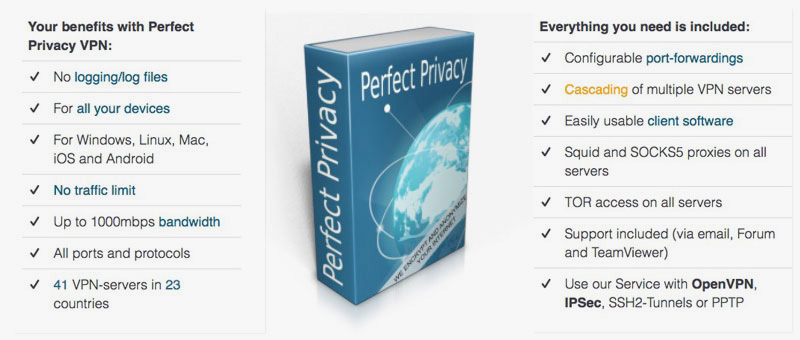 Perfect Privacy VPN Features