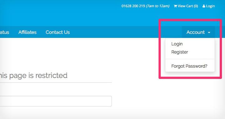 Vidahost Account Register