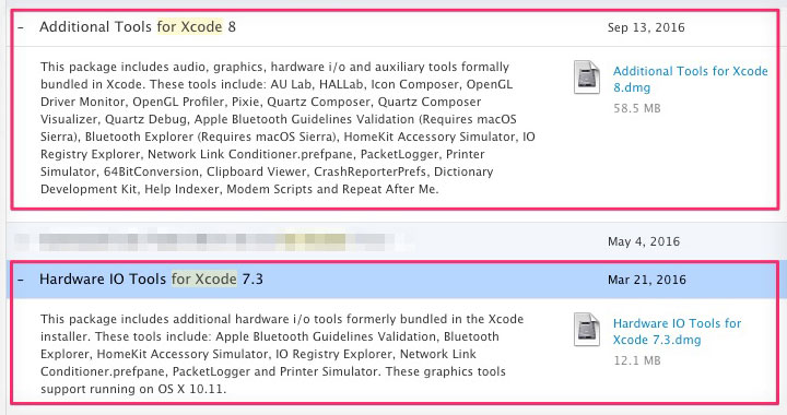 Xcode Additional Tools & Hardware IO Tools