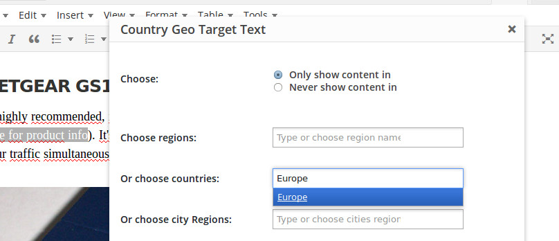 Country Geo Target Text Options