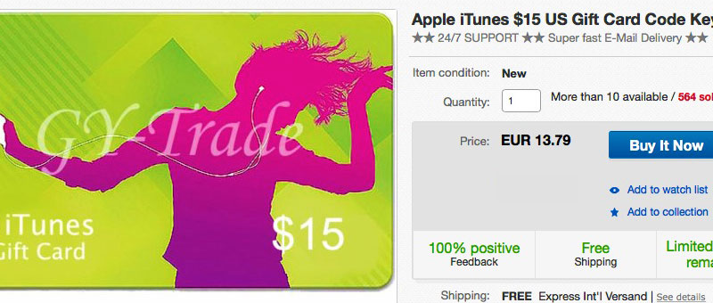 eBay iTunes Gift Card Shop