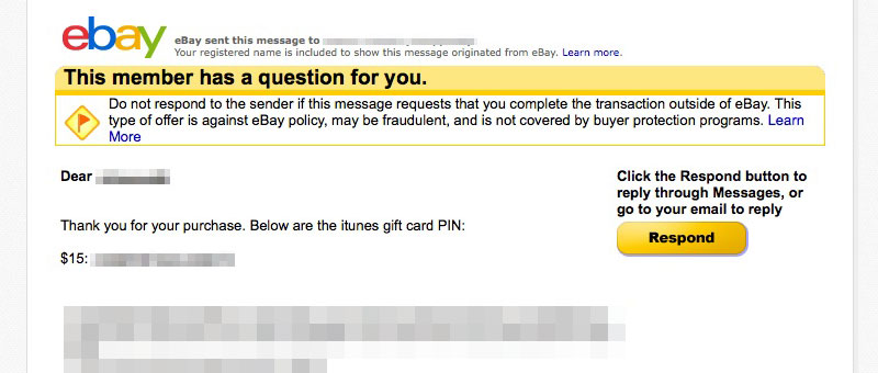 eBay iTunes Gift Care Purchase PIN