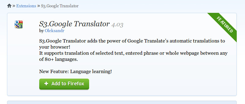 S3 Google Translator Mozilla Firefox add ons