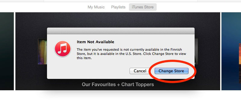 Change to U.S iTunes Store