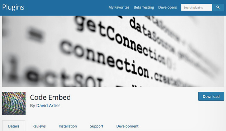 Code Embed WordPress Plugin