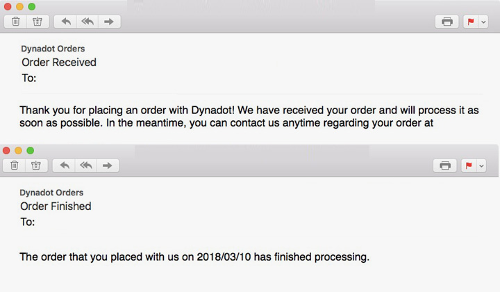 Dynadot Order Email