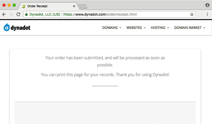 Dynadot Order Submitted