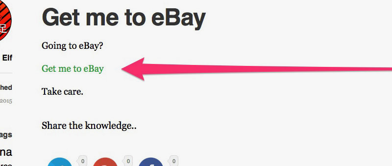 Get me to eBay WordPress Page