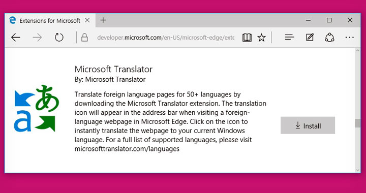 Microsoft Translator Edge Extension