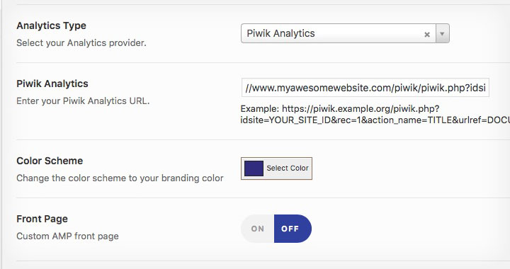 Piwik Analytics AMP URL