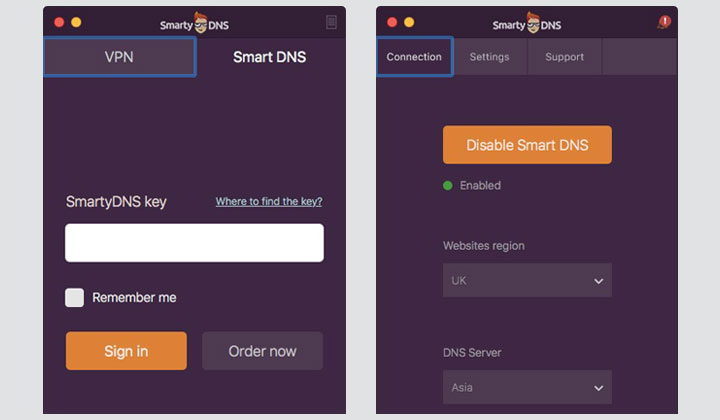 SmartyDNS Enable Smart DNS App