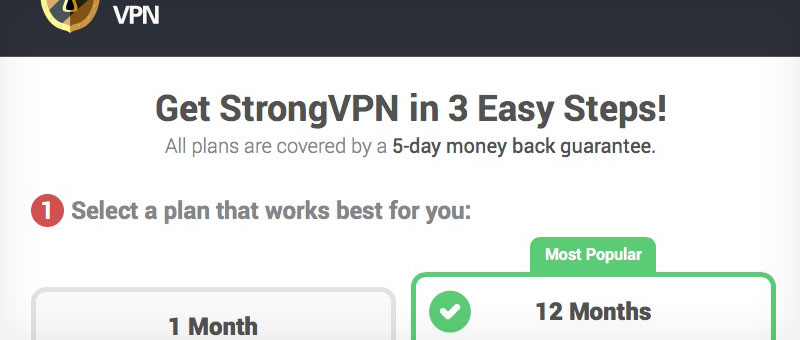 StrongVPN Service Packages