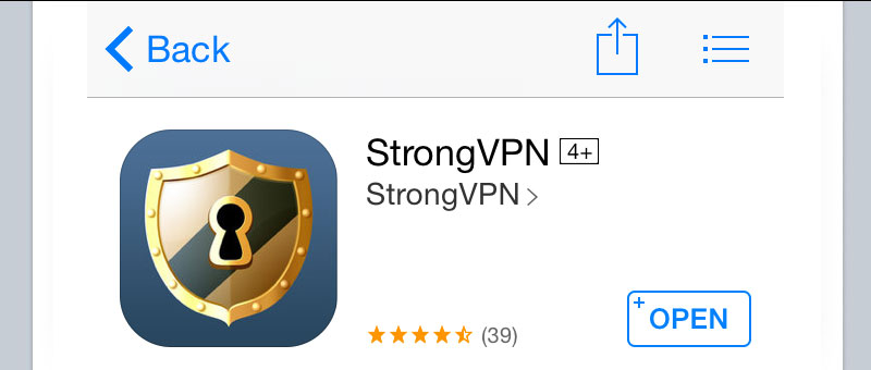 StrongVPN iPhone iOS App
