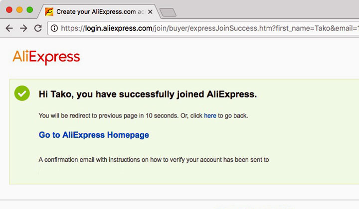 Successfully Joined AliExpress