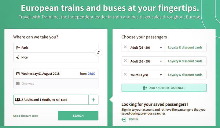 Trainline TGV Booking Search