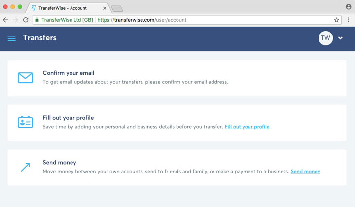 TransferWise User Account