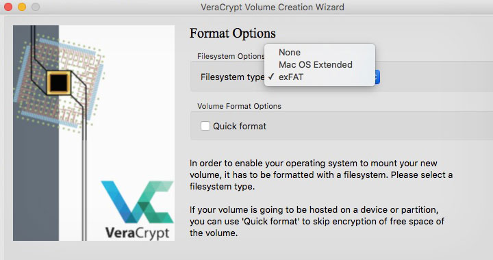 VeraCrypt Format Options Mac OS Extended exFat