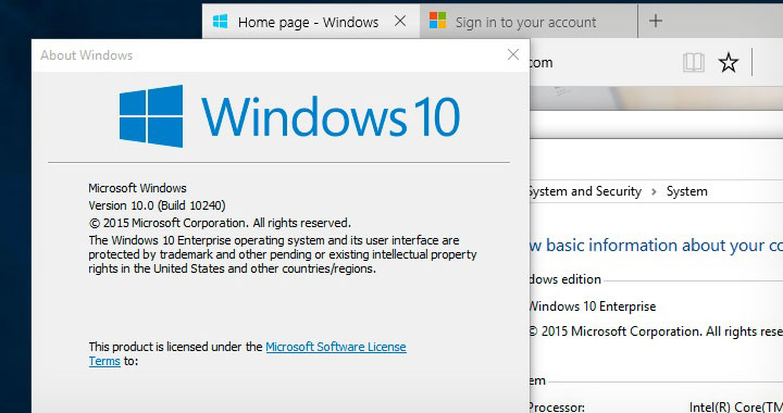 Winver Windows 10 Build 10240