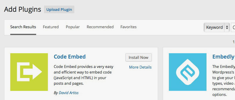 WordPress Code Embed Plugin Install