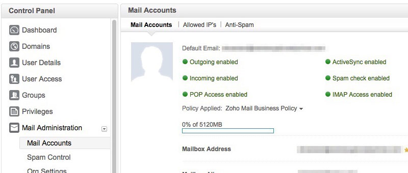 Zoho Control Panel Mail Accounts