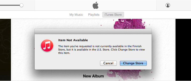 iTunes Item Not Available Change to US Store