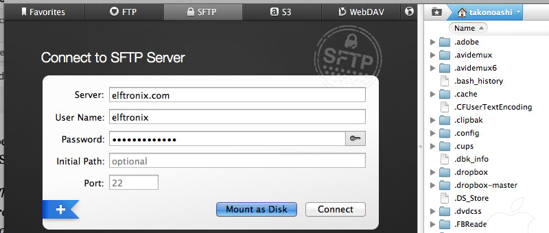 Transmission Connect to SFTP FTP Server Mount as Disk